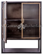 "Black and Antique Gold ""Orwell"" Square Metal Wall Cabinet with Shelf"
