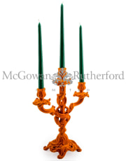Bright Orange Flock Ornate Candelabra