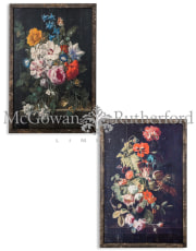 Set of 2 Antiqued Boho Floral Wall Prints