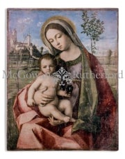 Antiqued Stone Effect Madonna with Child Fresco Style Wall Art
