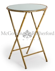 Antique Gold/Bronze Leaf Metal Bamboo Side Table
