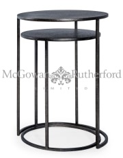 Nest of 2 Antique Pewter/Grey Metal Side Tables