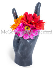 "Large Black ""Rock On!"" Hand Ornament/Vase"