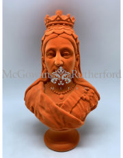 Bright Orange Flock Large Queen Victoria Bust