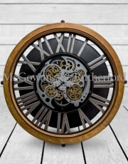 Industrial Wood and Iron Moving Gears Clock Coffee Table
