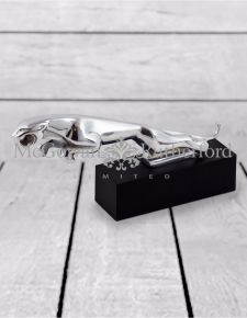 Large Aluminium Jaguar Figure on Black Base