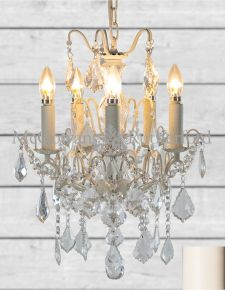 5 Branch French Small Antique Crackle White Chandelier