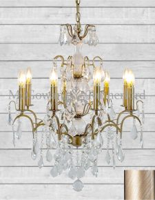 8 Branch French Brushed Gold Design Glass Chandelier