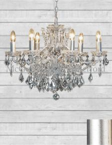 6 Branch Shallow Antique Silver Leaf Chandelier