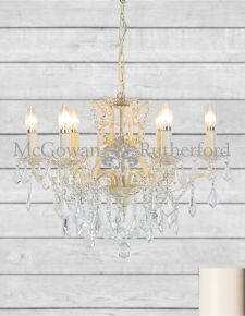 6 Branch Shallow Antique Crackle White Chandelier