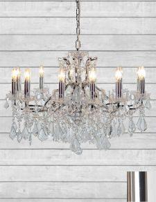 12 Branch Shallow Chrome Glass Chandelier