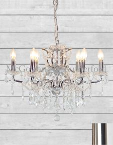 6 Branch Shallow Chrome Glass Chandelier