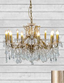 12 Branch Style Shallow Brushed Gold Glass Chandelier