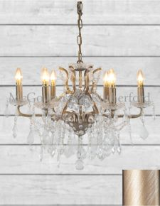 6 Branch Shallow Brushed Gold Glass Chandelier
