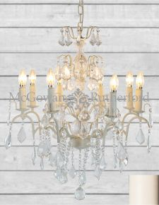 8 Branch French Large Antique Crackle White Chandelier