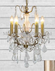5 Branch Style French Small Brushed Gold Glass Chandelier