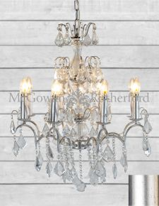 8 Branch French Large Antique Silver Leaf Chandelier