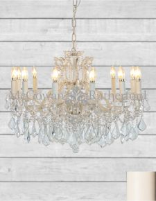 12 Branch Shallow Antique Crackle White Chandelier