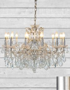 12 Branch Shallow Antique Silver Leaf Chandelier
