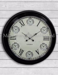 Multi Dial Large Black with White Face Wall Clock