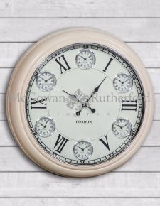 Multi Dial Large Cream with White Face Wall Clock