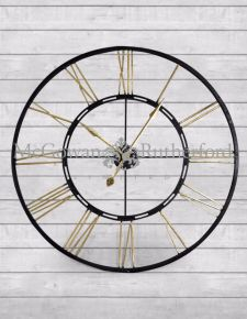 Skeleton Large Black and Gold Iron Clock