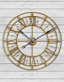 Skeleton Medium Gold Iron Wall Clock
