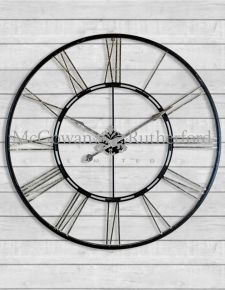 Skeleton Large Black and Silver Iron Clock