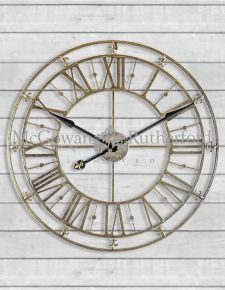 Medium Champagne/Silver Iron Skeleton Wall Clock