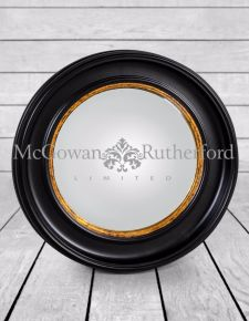 Round Black Large Convex Mirror