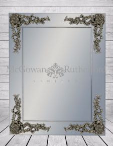 Rectangular Frameless Mirror with Metallic Corner Detail