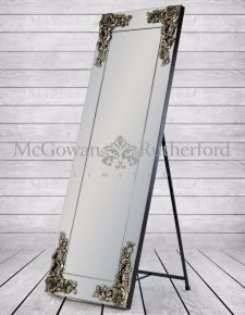 Large Cheval Rectangular Frameless Mirror with 'Metallic' Corner Detail