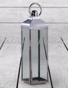Extra Large Square Polished Steel and Glass Lantern