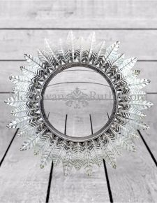 Small Silver Leaf Sun Mirror