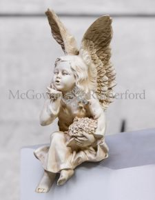 Antique White Sitting Angel Figure