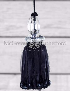Black Glass Ball Key Tassel