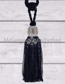 "Black ""Diamond"" Ball Tassel"
