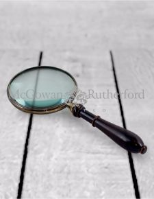 "Large 4"" Brass Magnifying Glass with Wooden Handle"