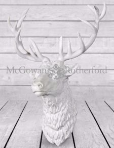 Large Bright White Finish Effect Stag Wall Head