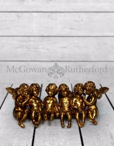 Large Antique Gold Sitting Row of Cherubs
