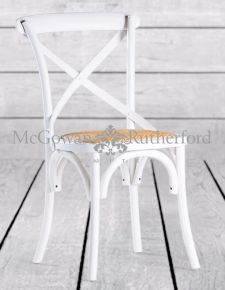 Distressed White Ash Dining Chair with Rattan Seat