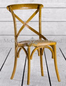Oak Finish Dining Chair with Rattan Seat