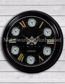 Multi Dial Large Black with Black and Gold Face Wall Clock