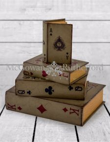 Antique Playing Card Book Set of 4 Storage Boxes