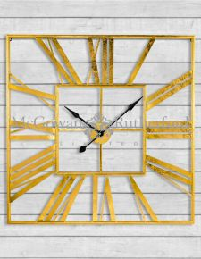 Large Square Gold Skeleton Clock