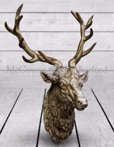 Large Antique Silver Finish Effect Stag Wall Head