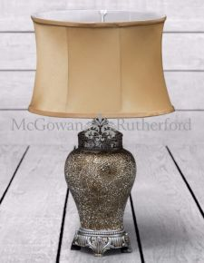 *Carton of 4* Small Gold Mosaic Lamp Gold Oval Shade