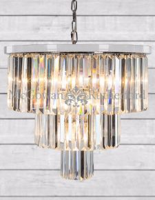 Chrome Prism Drop Large Round Cascade Chandelier