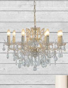 Antique Crackle White 8 Branch Shallow Chandelier
