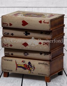Antiqued Stacked Playing Card Books Side Cabinet